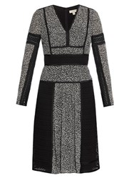 Burberry Lace And Leopard Print Panelled Silk Dress Black White