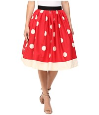 Unique Vintage Full Swing Skirt Red Ivory Dot Women's Skirt