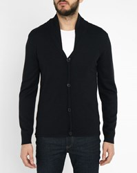 Ikks Navy Wool Shawl Collar Buttoned Cardigan Blue