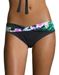 Coco Reef Tropical Escape Criss Cross Hipster Bikini Bottoms Black