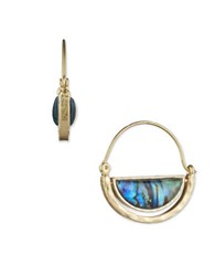 Lonna And Lilly Abalone Goldtone Hoop Earrings