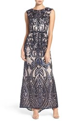 Vince Camuto Women's Embroidered Sequin Mesh Gown