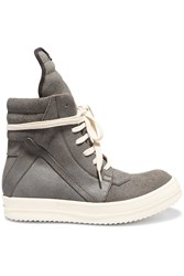 Rick Owens Suede High Top Sneakers Gray