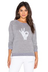 Nation Ltd. Ok Raglan Sweatshirt Gray