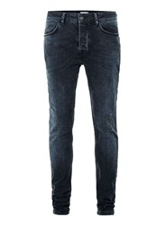 Topman Overdyed Dark Wash Blue Distressed Stretch Skinny Jeans