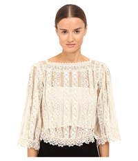 Red Valentino Point D'esprit And Macrame Ribbons Blouse Ivory