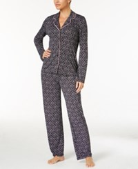 Alfani Printed Knit Pajama Set Only At Macy's Black Diamond