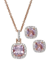 Victoria Townsend 18K Rose Gold Over Sterling Silver Jewelry Set Pink Amethyst 2 3 8 Ct. Tw. And Diamond Accent Pendant And Earrings