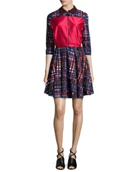 Risto Pilot Three Quarter Sleeve Dress Red Mix