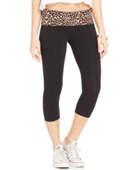 Material Girl Active Juniors' Cropped Foldover Leggings Only At Macy's Leopard