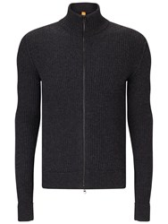 Hugo Boss Orange Kasnarem Zip Jumper Dark Grey