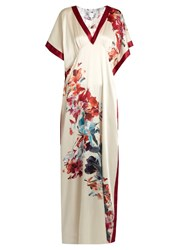 Carine Gilson Wonderland Print Silk Satin Nightdress Ivory Multi