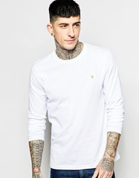 Farah Long Sleeve T Shirt With F Logo In Reg Fit White