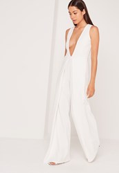 Missguided Crepe Origami Detail Jumpsuit White White