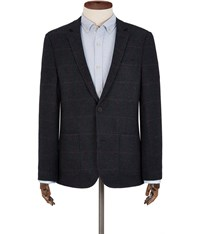 Austin Reed Overcheck Regular Fit Blazer Grey