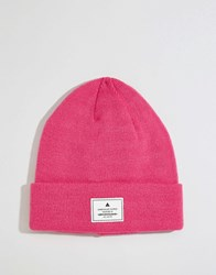 Asos Patch Beanie In Pink Pink