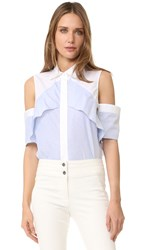 J. Mendel Ruffle Shoulder Blouse Blue Ivoire