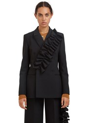 Msgm Ruffled Double Breasted Blazer Jacket Black