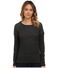 Jag Jeans Lorna Relaxed Fit Quilted Jersey Charcoal Heather Women's Long Sleeve Pullover Gray