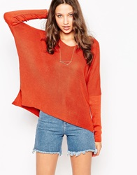 Asos Tall Jumper With V Neck In Rib With Side Splits Tobacco