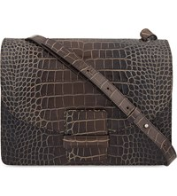 Dries Van Noten Crocodile Embossed Leather Shoulder Bag Black Grey
