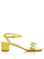 Tabitha Simmons Folie Daisy Embellished Leather Sandals Yellow White