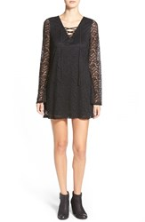 Junior Women's Socialite Lace Shift Dress Black