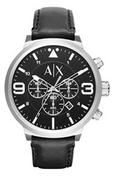Men's Ax Armani Exchange Chronograph Leather Strap Watch 49Mm Black Silver Black