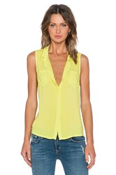 Splendid Rayon Voile Button Up Tank Yellow