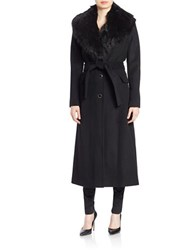 Calvin Klein Long Faux Fur Trimmed Trench Coat Black
