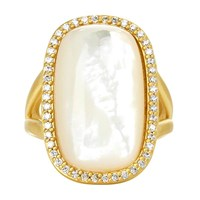 Freida Rothman Large Pave Framed Mother Of Pearl Cabochon Cocktail Ring Silver