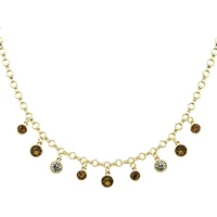 Monet Champagne Crystal Necklace Gold Topaz