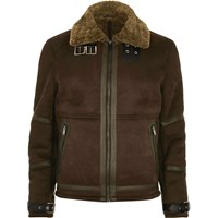 River Island Mens Dark Brown Shearling Jacket