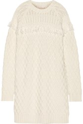 Tory Burch Fringed Cable Knit Wool Sweater Dress Ivory