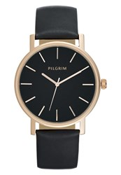 Pilgrim Watch Rose Gold Coloured Black