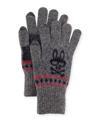 Psycho Bunny Stanley Houndstooth Tech Gloves Cliff Gray
