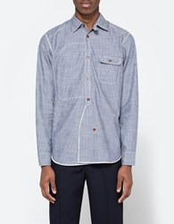 Junya Watanabe Cotton Twill Stripe Check Navy White
