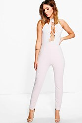 Boohoo High Neck Lace Up Front Skinny Leg Jumpsuit Grey