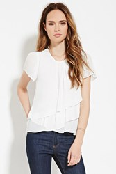Forever 21 Contemporary Ruffled Blouse Ivory