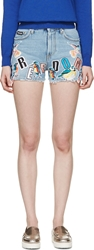 Msgm Blue Denim Appliqua Shorts