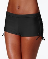 Hula Honey Cinch Tie Boy Short Swim Bottoms Women's Swimsuit Black