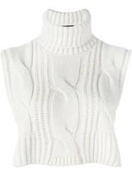 Cedric Charlier Roll Neck Cropped Blouse White