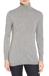 Nordstrom Women's Collection Long Cashmere Turtleneck Sweater Grey Filigree Heather