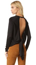 Cushnie Et Ochs Tie Open Back Knit Top Black