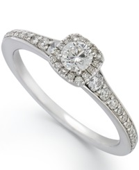Macy's 14K White Gold Diamond Halo Engagement Ring 1 2 Ct. T.W.