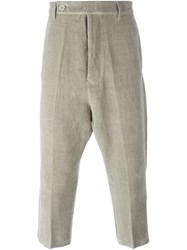 Rick Owens Cropped Velvet Trousers Grey