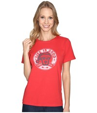 Life Is Good Rocket Santa Peace Love Crusher Tee Simply Red Women's T Shirt