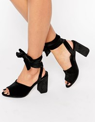 Asos Hitch A Ride Lace Up Mules Black Velvet