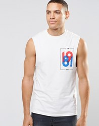 Asos Longline Sleeveless T Shirt With Chest Print Off White Grey