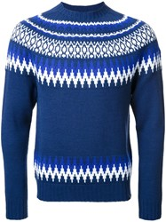 Bedwin And The Heartbreakers Fair Isle Knit Jumper Blue